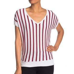 Philosophy Striped V-Neck Short Sleeve Knit Top
